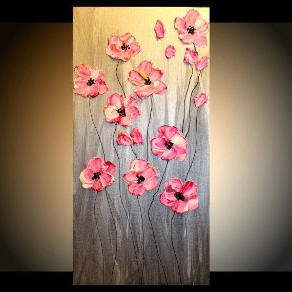 "ABSTRACT Original gallery canvas contemporary 24"" palette knife signature floral impasto oil painting by Nicolette Vaughan Horner on Etsy, $149.99"