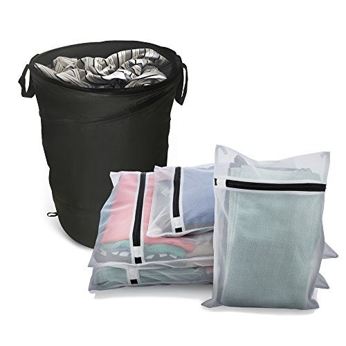 Underwear and Delicates Wash Bags PLUS Collapsible Laundry Hamper 5 Piece Set by The CHO  BUNDLE  4 Zippered Mesh Lingerie Wash Bags  1 Pop Up Basket  For College Travel or Home *** Details can be found by clicking on the image.