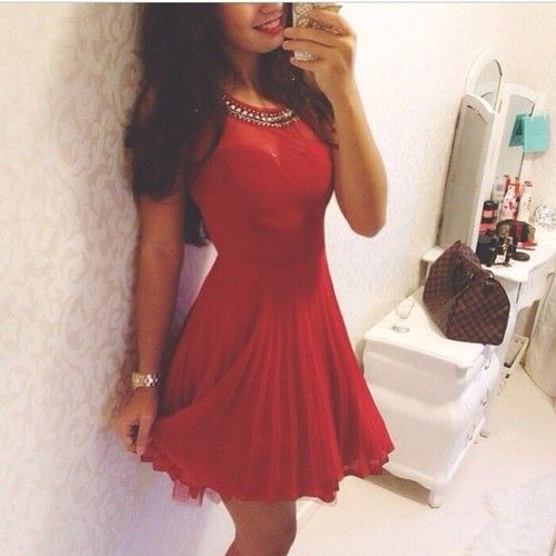 Red Dress Cute Dresses Pinterest Holiday Dresses