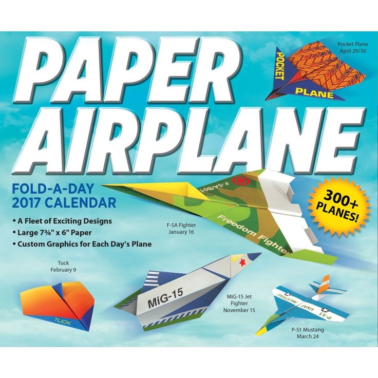 The Paper Airplane Fold-A-Day 2017 Calendar features 40 original models based on real-life airplanes as well as creative aircraft designs.