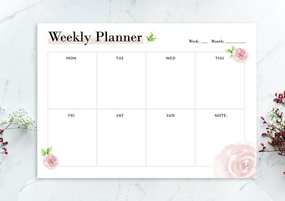 Floral Weekly Planner - 03, A4 Weekly Planner (Instant Download)