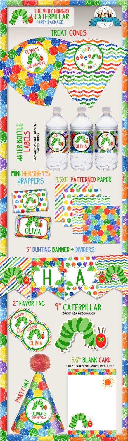 The Very Hungry Caterpillar Birthday Party by LilFacesPrintables, $16.95