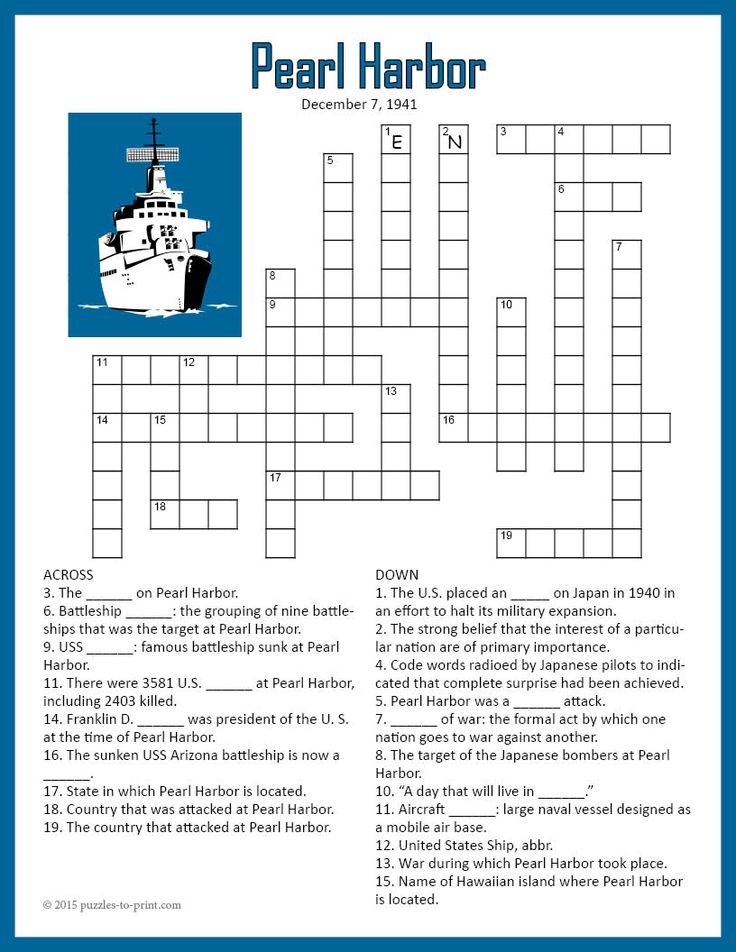 A crossword puzzle for students studying the attack on Pearl Harbor. There are 20 clues to be answered and each one touches on a fact about the attack. This could be used as an introduction to the subject or as a quiz.