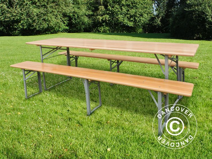 BEER TABLE SET, 180X60X76CM, LIGHT WOOD Beer Table Set, wooden with strong, foldable steel legs. The set can be used both indoor and outdoor and is easy to store when not in use due to the foldable legs. Perfect for the family gathering, the barbecue party, the Octoberfest, birthdays, and much more. Rental quality.