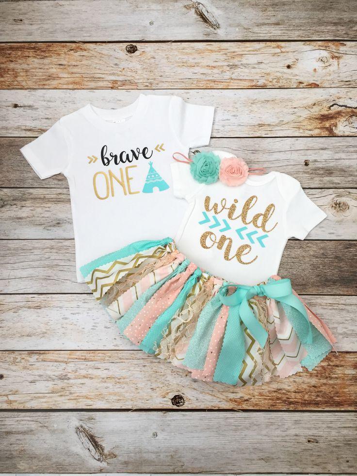 Twin Boy/Girl 'Wild One' First Birthday Outfits, Peach/Pink, Mint and Gold Wild One Birthday Outfit, Twin Wild One Birthday Set by MeadowsMarvels on Etsy https://www.etsy.com/listing/496185912/twin-boygirl-wild-one-first-birthday