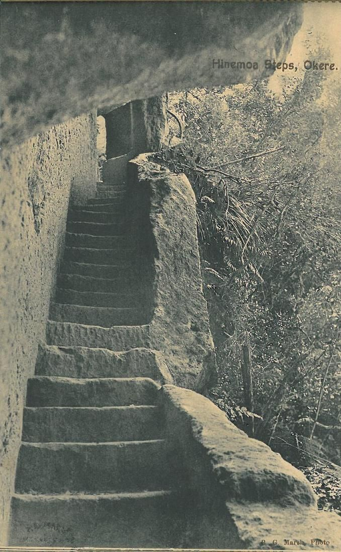 """Hinemoa's Steps as photographed by R.G. Marsh and sold as postcard in a booklet titled """"A Souvenir of Lake Trip Rotorua""""   A copy of this booklet is available to view at the Rotorua District Library, Don Stafford Collection."""