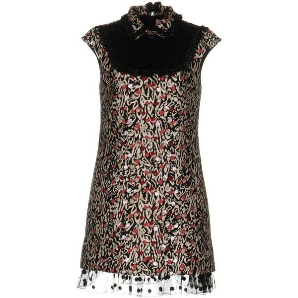 Giamba Short Dress ($550) ❤ liked on Polyvore featuring dresses, black, multi-color dresses, multi coloured dress, metallic cocktail dress, short dresses and tube dresses