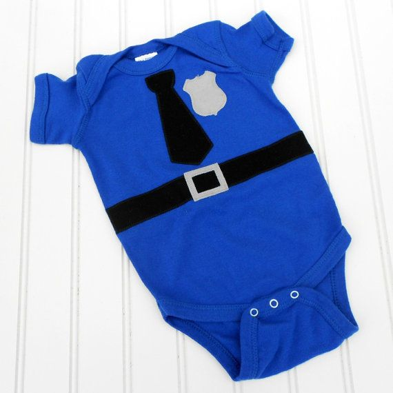 Great Baby Shower gift READY TO SHIP Police Officer- Cop - Policeman Baby onesie sewn cotton applique via Etsy
