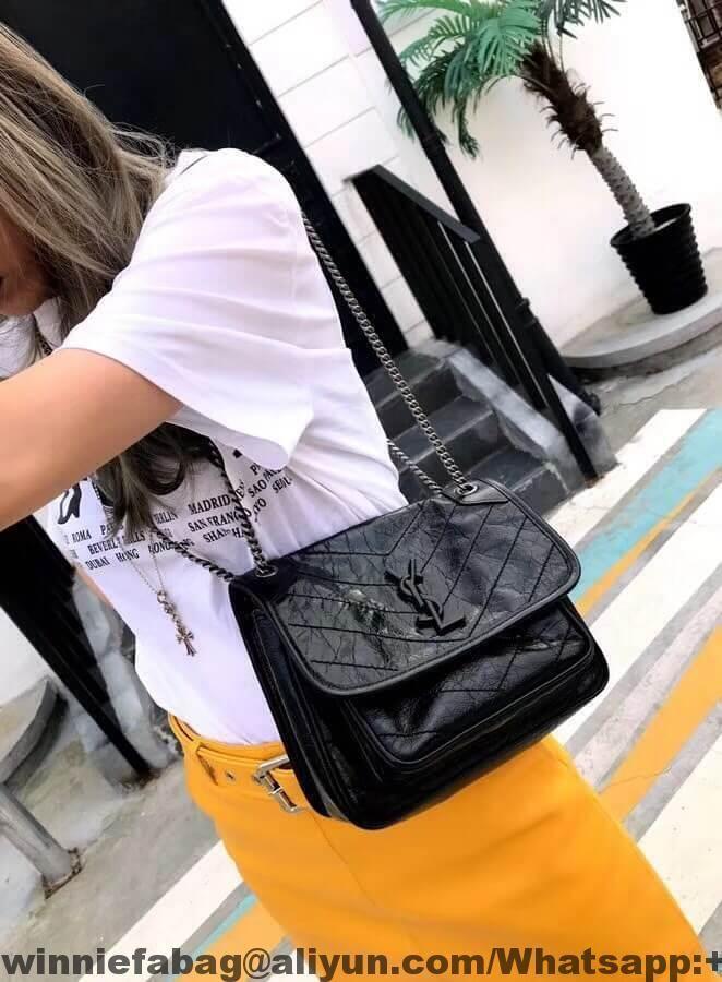 Saint Laurent Baby Niki Chain Bag In Crinkled Leather