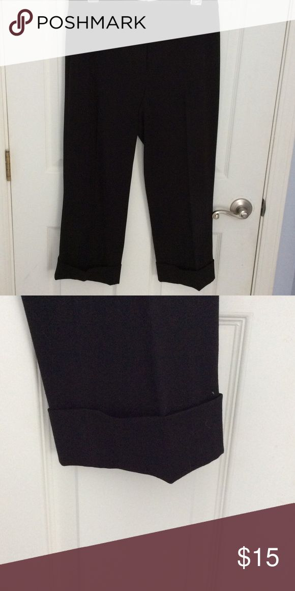 Capri black cuffed dress pants Capri dress pants with cuffed legs Rafaella Pants Capris
