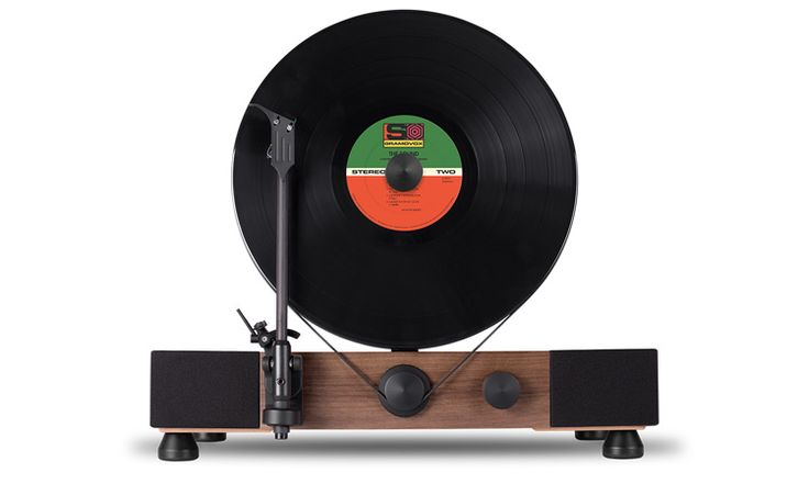 Gramovox Floating Record Vertical Turntable | Walnut Front
