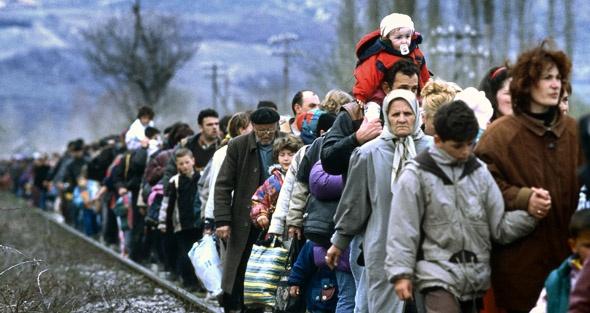 Kosovar refugees fleeing their homeland in the former Yugoslav Republic of Macedonia.