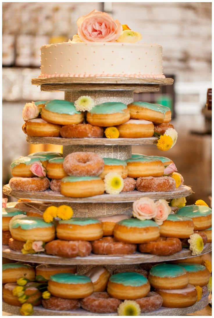 Donut wedding cake photographed by Ashlyn Dawson on Fit for a Bride blog.