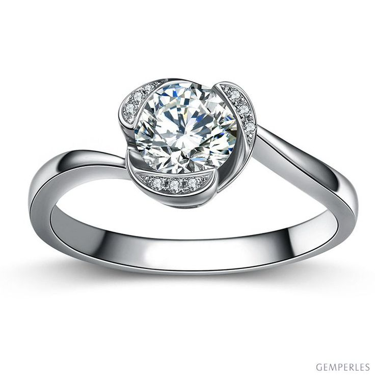 Bague solitaire or blanc 18cts - Diamants 0.35ct