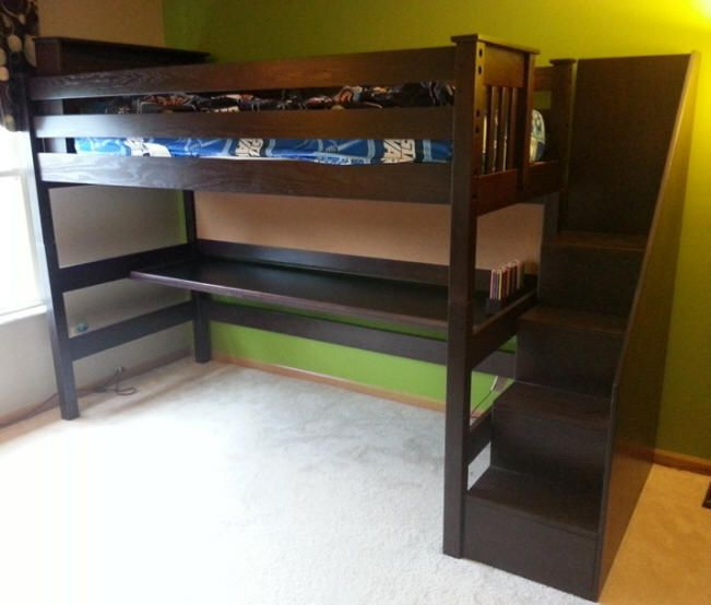 ... Bunk & Loft Factory - Solid Wood Twin Loft Bed with Desk and Stairs