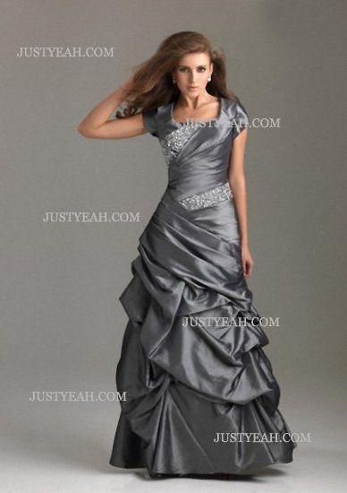 A-line Square Beading Short Taffeta Silver Evening Dresses