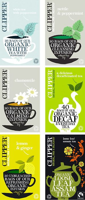 CLIPPER TEA. Designed by Big Fish. The packaging is soo pretty, moreover it's organic and Fairtrade, you can tell when a designer is proud of the product he works for.