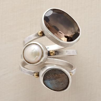 VICE VERSA RING TRIO -- A cultured pearl joins irregular gems: a labradorite with facets facing out, smoky quartz with facets facing in. A handcrafted exclusive in sterling silver with brass granulations. Set of 3. Whole sizes 5 to 9.