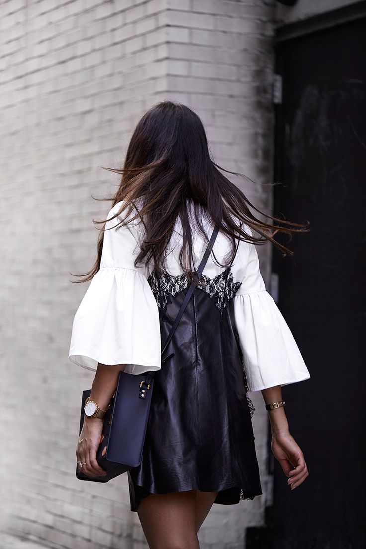 Bell sleeves + slip dress.
