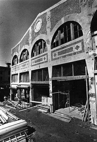 Corner Market during rehabilitation, 1975