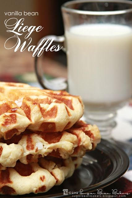 Vanilla Bean Liege Waffles. These Belgian Pearl Sugar Waffles are amazing. Bursts of crunchy sugar and caramelized sugar on the outside. Delicious!