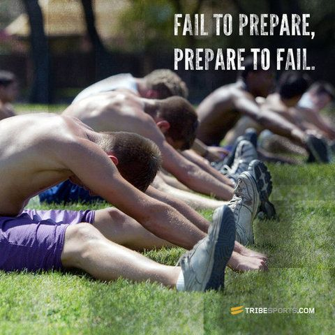As the image says, if you fail to prepare, then prepare to fail. There is no excuse for not taking part in an effective warm up before exercise and cool down after exercise. The benefits of an effective warm up are proven by scientific research and should be incorporated into all exercise, whether for team sport or individual exercise. Make warming up and cooling down a habit, not a chore.