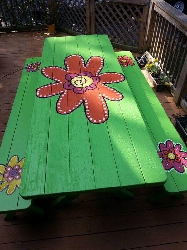 Mesa de picnic personalizada con pintura