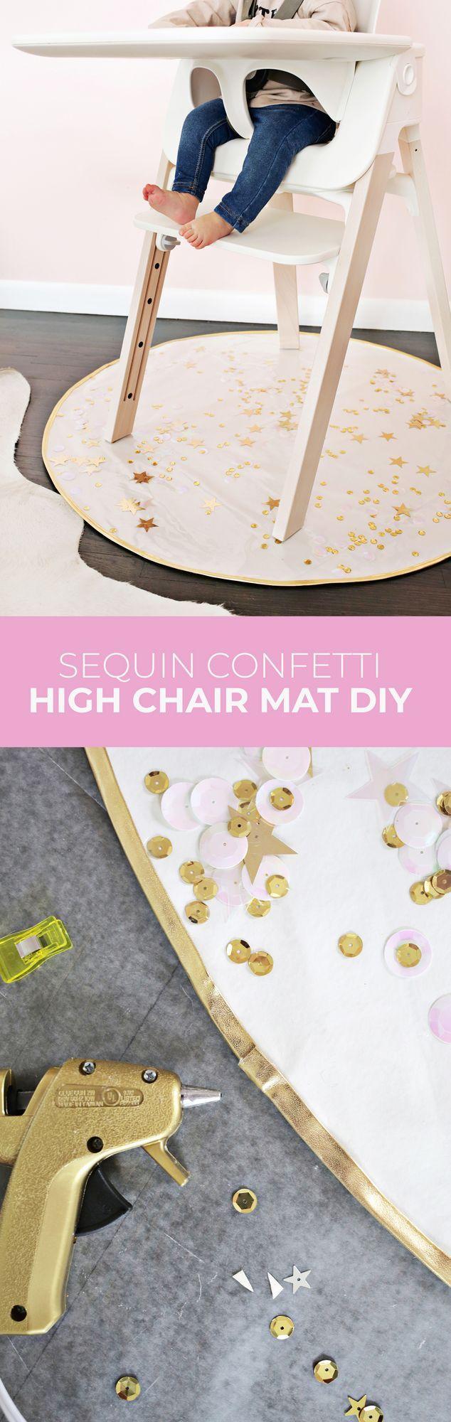 Sequin Confetti High Chair Mat DIY | A Beautiful Mess | Bloglovin'