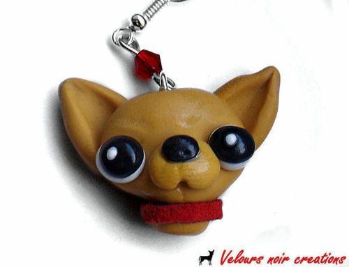 orecchini cane CHIHUAHUA creati a mano in fimo earrings dog cagnolino handmade