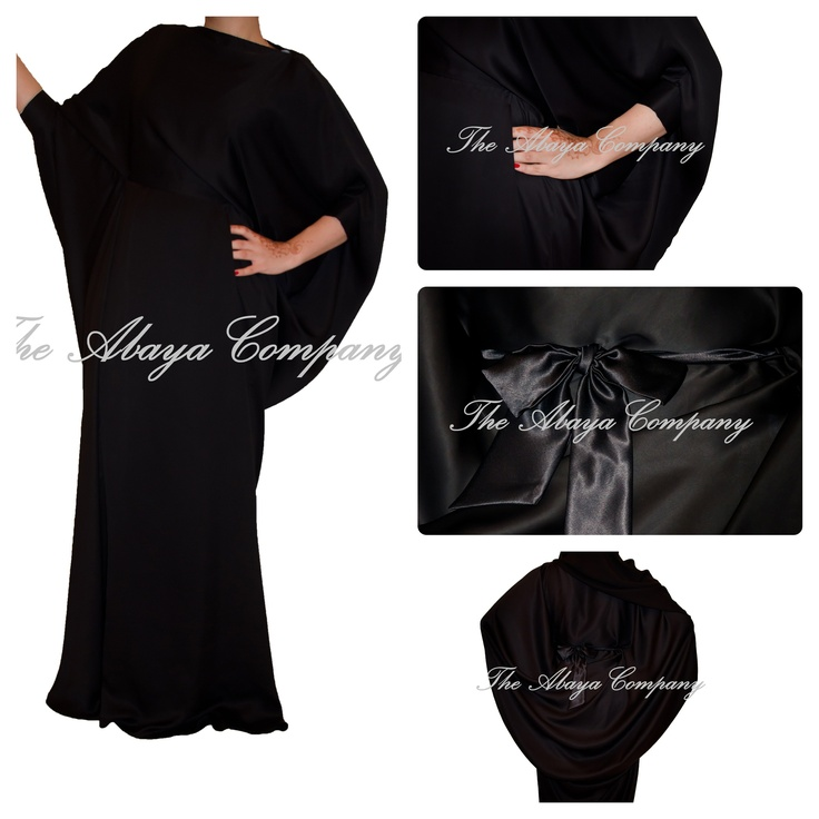 "Black Elegance abaya. Silk fabric. Loose cowl detail on the back. 3 quarter sleeves. For inquiry or purchase contact us on theabayacompany@gmail.com or follow on Facebook ""The Abaya Conpany"" Dhs 600"
