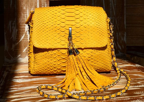 genuine python leather bag yellow by OkeanaAccessories on Ebay