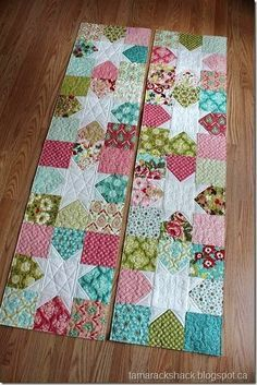 Quited table runners made with charm packs.                                                                                                                                                                                 More