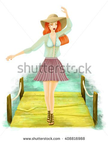 Illustration of girl walking on the beach pier feeling free on a fresh day. Wearing a pleated violet skirt and gouze blouse. Readhead at the beach with big hat for the sun and sandals.
