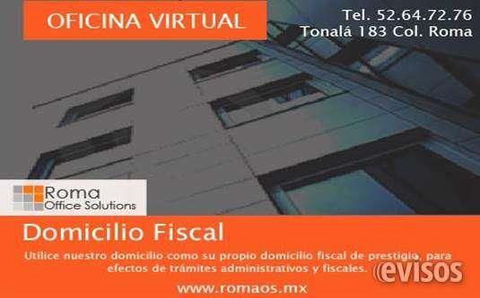 DOMICILIO FISCAL EN LA COLONIA ROMA DESDE $ 699 PESOS  Realice todos los trámites administrativos que requiere su empresa.  Su plan con domicilio fiscal ...  http://cuauhtemoc-city-2.evisos.com.mx/domicilio-fiscal-en-la-colonia-roma-desde-699-pesos-id-616732
