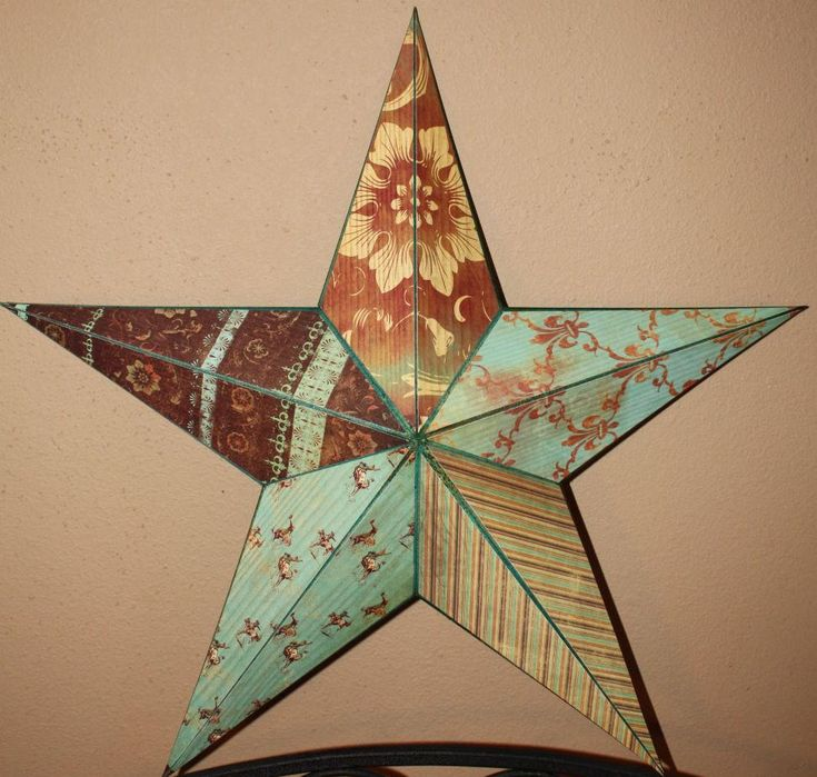 Altered Barn Star with scrapbook paper