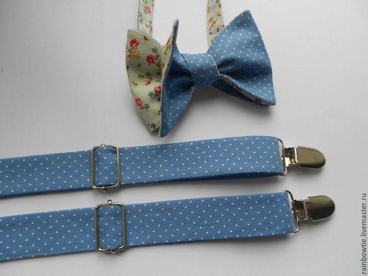 Купить Комплект в голубой горошек/цветы - голубой, цветочный, в горошек, галстук-бабочка, подтяжки