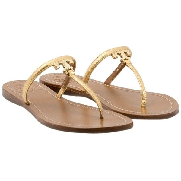 Pre-owned Tory Burch T Logo Flat Thong-metallic Saffiano Size 7 Gold... ($130) ❤ liked on Polyvore featuring shoes, sandals, gold, gold flat shoes, tory burch shoes, flat sandals, metallic flat sandals and gold shoes