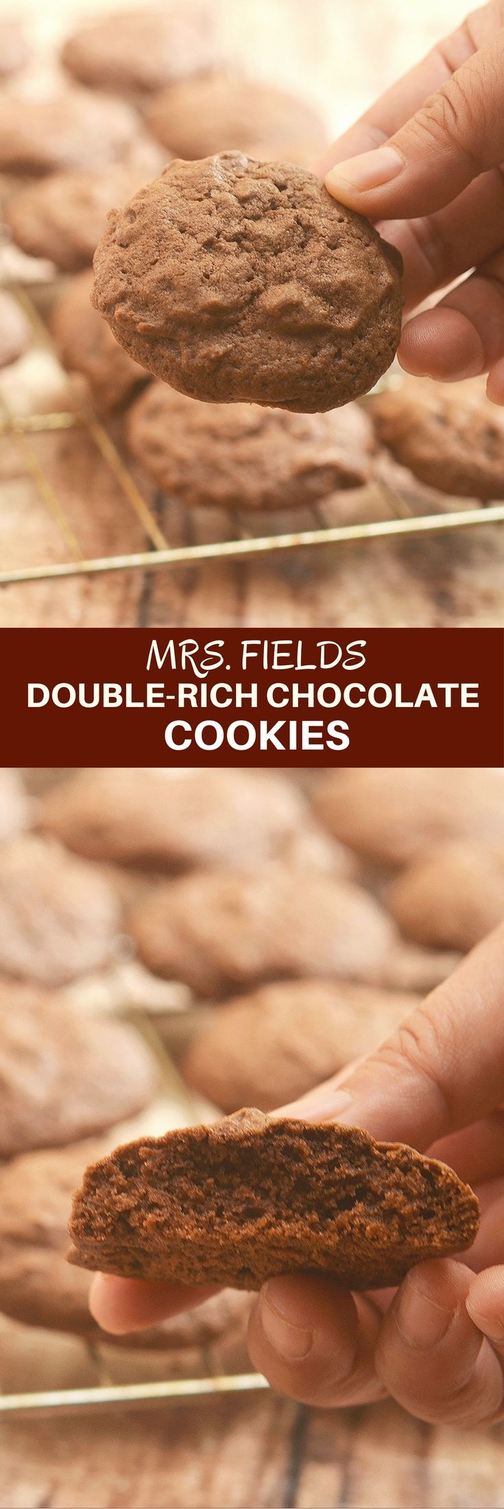 Mrs. Fields Double-Rich Chocolate Cookies are the ultimate cookie treat. Soft, fudgy, and packed with chocolate flavor, they're perfect for milk dunking. via @lalainespins