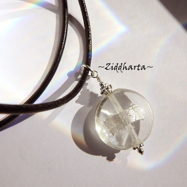 Crystal LampWork Necklace SilverFoil Necklace Halskette Kragen Silver Plated Halsband Necklace - Handmade Jewelry Necklaces by Ziddharta by Ziddharta on Etsy