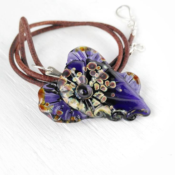 Violet mermaids heart lampwork glass necklace, one of my new collection