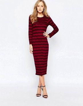 French Connection Long Sleeve Siberian Stripe Column Dress