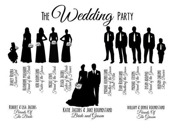Custom Printable Wedding Party Bridal Silhouette Program Card