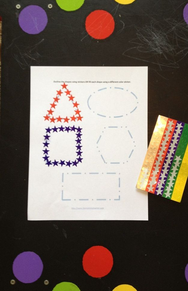 Teach correct shape formation while giving kids LOTS of fine motor practice by having them peel stickers to form outlined shapes on worksheets.
