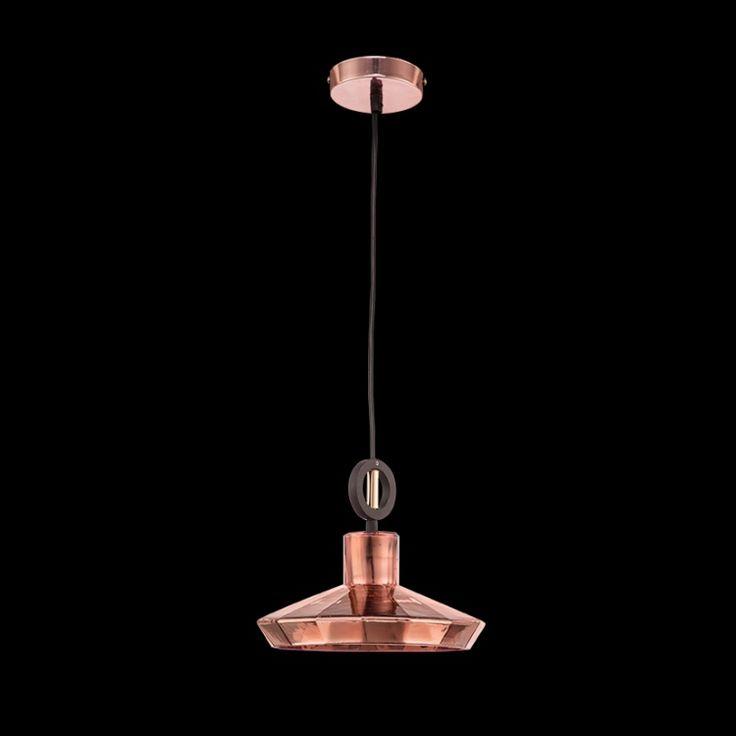 Diamond Cut Small Glass Pendant, Copper