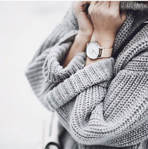 Gray or black super oversize knit sweater (tight below)