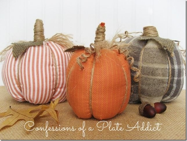 CONFESSIONS OF A PLATE ADDICT No-Sew Shirt Pumpkins-This gal has way too much time on her hands....lol This is a perfect craft for fall....