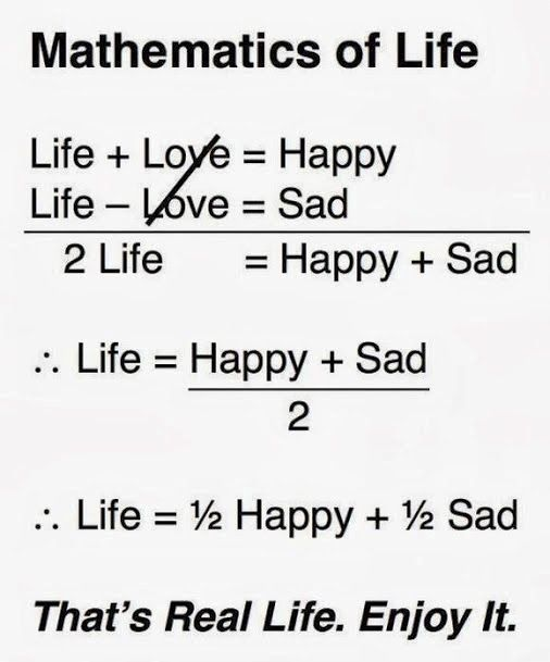 "This is actually incorrect.  In proper algebra you cannot cancel out the two ""love""s because they are being added/subtracted, not multiplied/divided.  This equation is invalid. < to whoever said this, if u are solving a system of equations, then u can cancel out the two loves because love minus love equals no love. This is a totally valid equation"