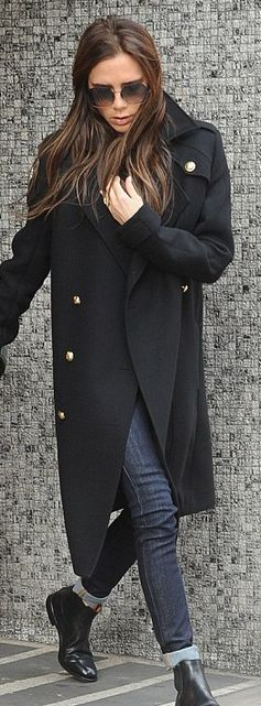 Victoria Beckham.Sunglasses and coat: Victoria Beckham Collection. Shoes: Church