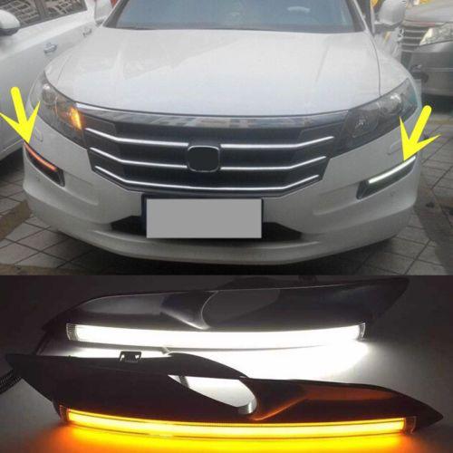 2X White+Yellow Daytime Turn Signal Light For Honda Accord