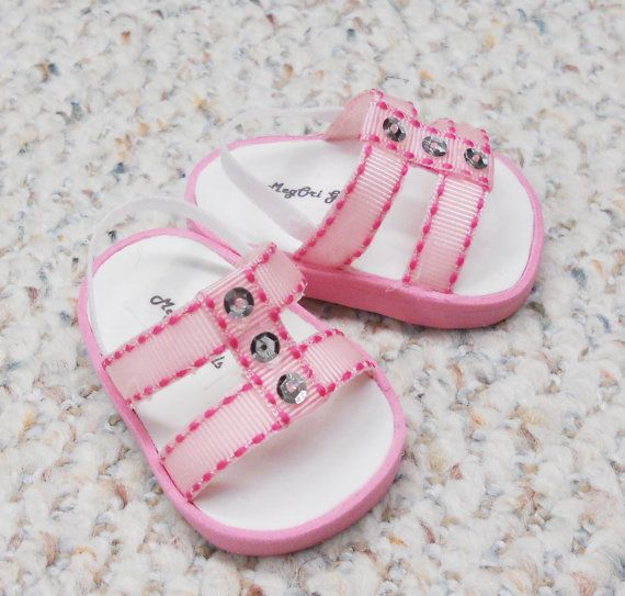 "American Girl 18"" Doll Shoes - Sandals Handmade - Pink with Silver Sequins"